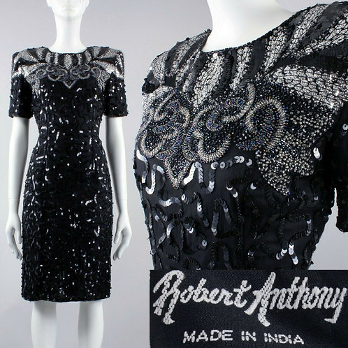 S/M 4 Vintage 80s Robert Anthony Black Silk Sequin Party Dress