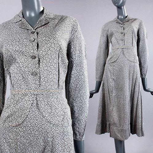 L/XL Vintage 40s Floral Cotton Top Skirt Dress Set
