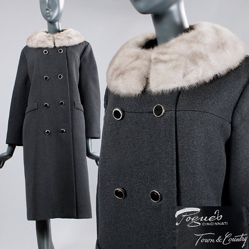 XL 1960s Gray Double Breasted Wool Coat