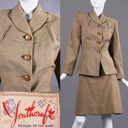 M Vintage 40s Youthcraft Wool Skirt Suit 2 pc Set