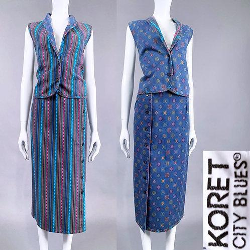 S/M Vintage 90s Denim Reversible Skirt Vest Set