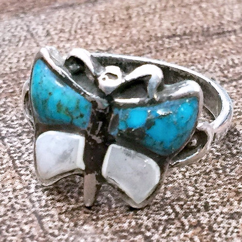 Size 6 • Vintage Butterfly Turquoise Sterling Silver Ring