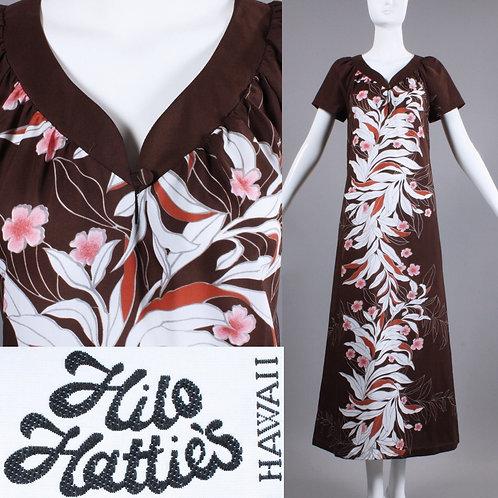 M/L Vintage 1960s Hilo Hattie's Brown Hawaiian Maxi Dress