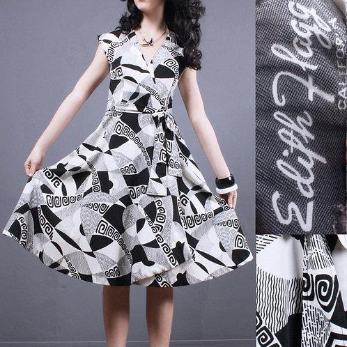 S/M Vintage 1960s Edith Flagg Op Art Dress