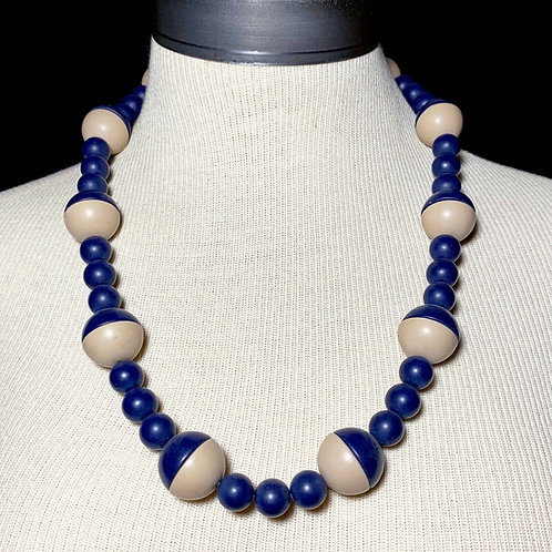 Beige Navy Mid-Century Bead Necklace
