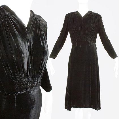 S Vintage 1930s Black Velvet Dress