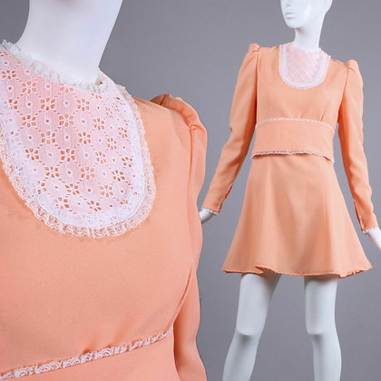 M Vintage 1960s Peach Dolly Mini Dress