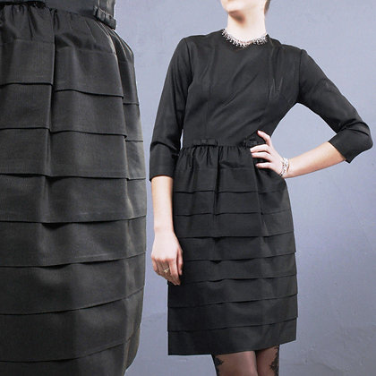 XS/S Vintage 1950s Black Tiered Mini Dress
