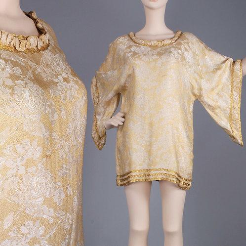 M/L Vintage 60s Gold Tunic Mini Dress
