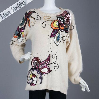 M/L Vintage 1980s Sequin Batwing Angora Sweater