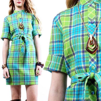S/M Vintage 1960s Green Plaid Dress