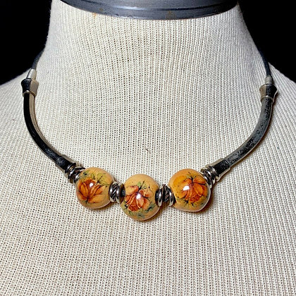 Decoupage Bead Floral Choker Necklace