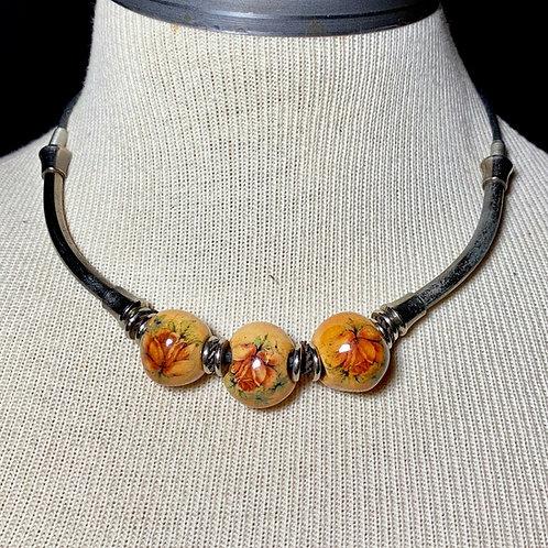 Decoupage Bead Floral Choker Necklace