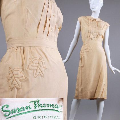 XL Vintage 1950s Susan Thomas SILK Skirt + Top Set