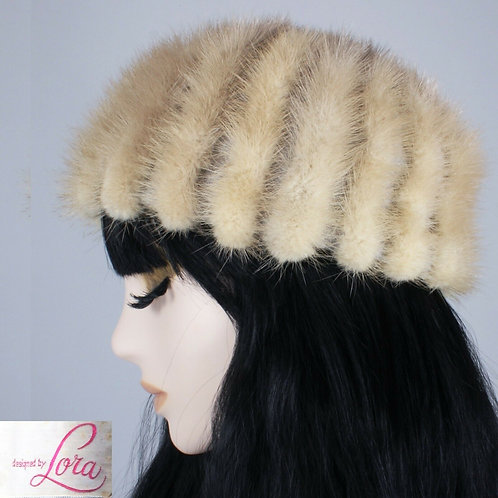 Vintage 1950s Pastel Palomino Brown Mink Fur Hat