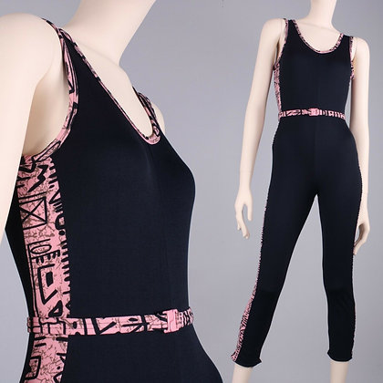 M Vintage 80s Black Pink Geometric Workout Belted Capri Leotard Unitard Bodysuit
