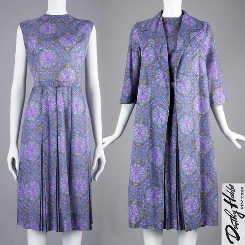 L/XL Vintage 50s Dorothy Hubbs Dress Jacket Set