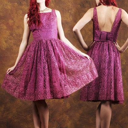 S Vintage 1950s Purple Lace Dress