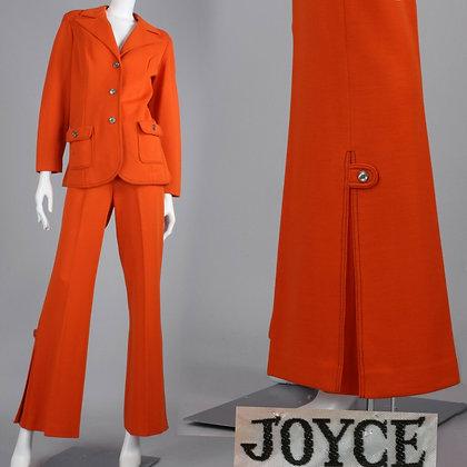 XL/XXL Vintage 70s Orange Top & Bell Bottom Pants Set