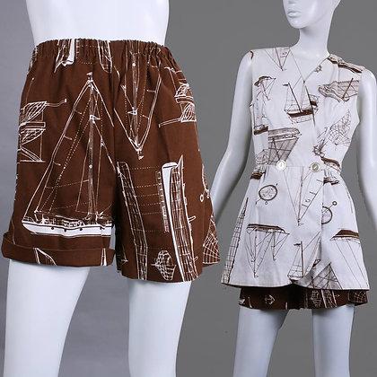S/M Vintage 1960s Brown White Nautical Shorts + Top Set