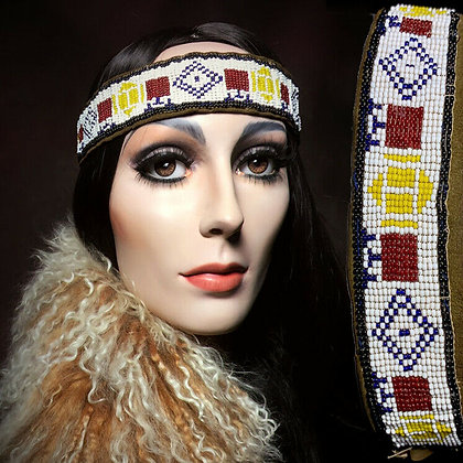 1920s Sioux Native American Indian Beaded Head Hat Band