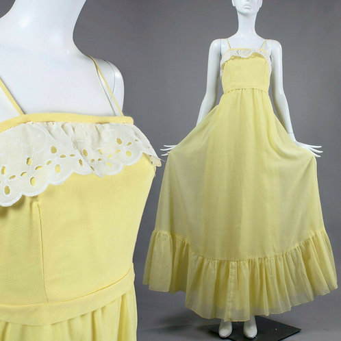 XS/S Vintage 1970s Long Prairie Maxi Sun Dress