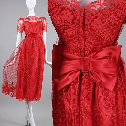 XS/S Vintage 1960s Red Prom Dress