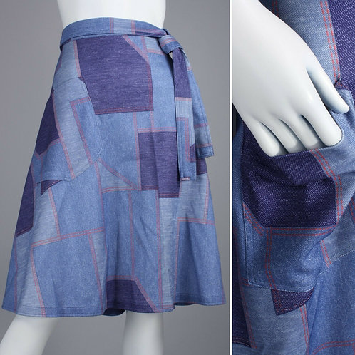 M/L Vintage 1970s Denim Print Patchwork Wrap Skirt