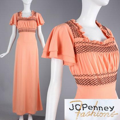 M Vintage 1960s Peach Brown Prairie Peasant Maxi Dress Flutter Sleeve 60s 70s