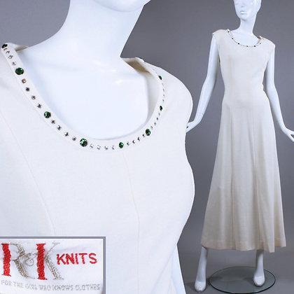 M/L 1960s Off White Hostess Maxi Dress Rhinestone Encrusted
