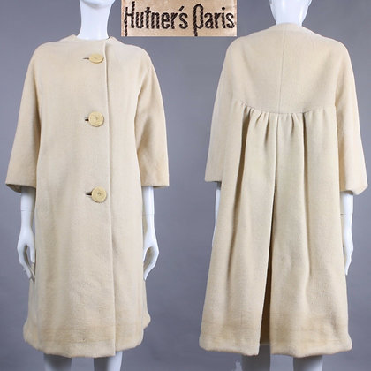 L/XL Vintage 60s Hutner's Paris Ivory Wool Knee Coat