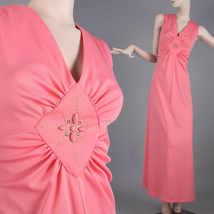 XL/XXL Vintage 60s Pink Maxi Hostess Dress