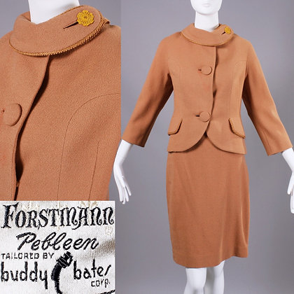 S/M Vintage 1950s Forstmann Two pc Wool Skirt Suit Set