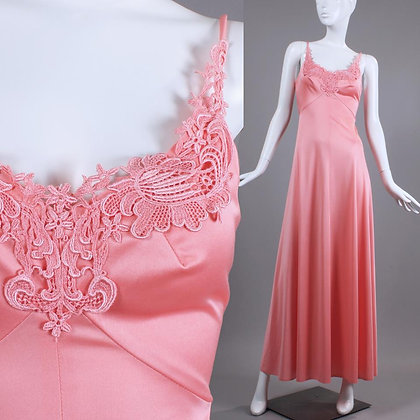 XS/S Vintage 1970s Coral Pink Silky Maxi Dress