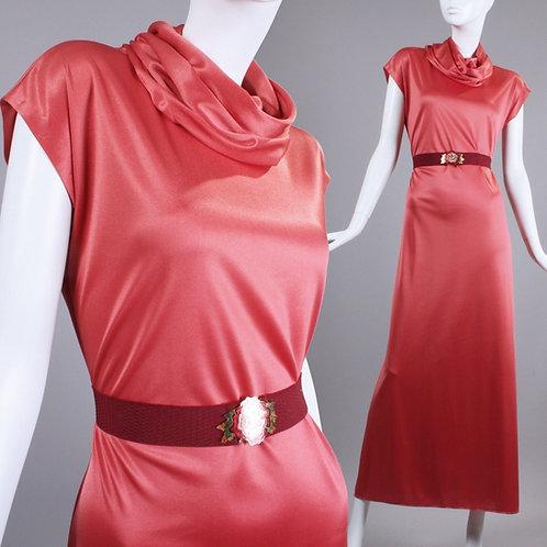 L Vintage 1970s Watermelon Pink Silky Maxi Dress