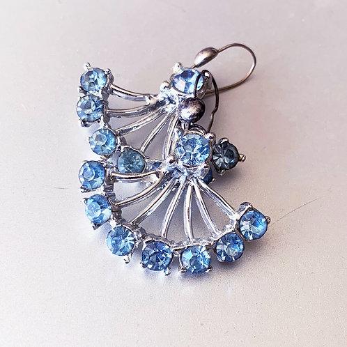 Vintage Blue Rhinestone Earrings - Pierced
