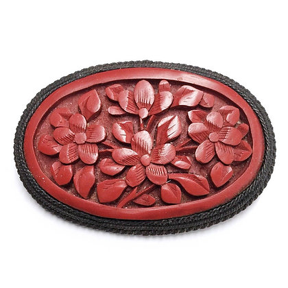 Vintage Antique 20s Carved Cinnabar Brooch