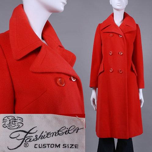 M/L Vintage 1970s Fashionbilt Red Wool Long Winter Coat