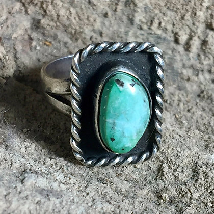 Size 6.5 • Vintage NA Southwestern Boho Manassa Turquoise + Sterling Silver Ring