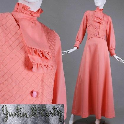 L Vintage 60s Coral Dress Maxi Skirt Vest Top Set