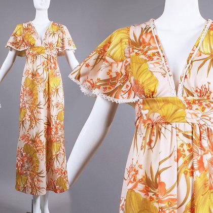 S Vintage 1970s Deep V Hawaiian Long Maxi Dress
