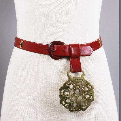 "29"" Vintage 1940s Red Leather Brass Equestrian Belt"