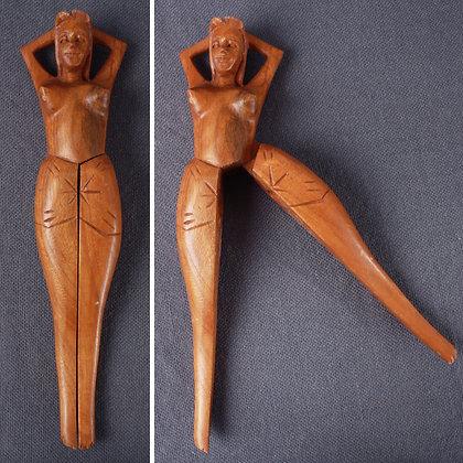 Vintage Tiki Luau Folk Art Nude Wood Nut Cracker