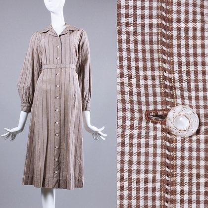 L/XL Vintage 1930s brown White Shirtwaist Day Dress