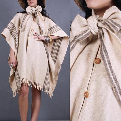 OS Vintage 1970s Ivory Stripe Wool Poncho