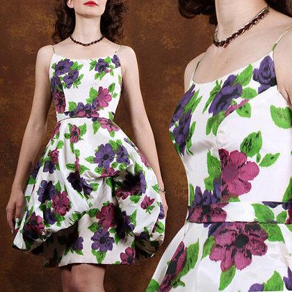 XS Vintage 50s Floral Bubble Dress