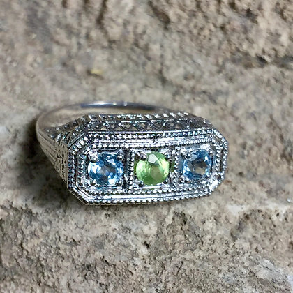 SIze 6 • Aquamarine + Peridot Sterling Silver Ring