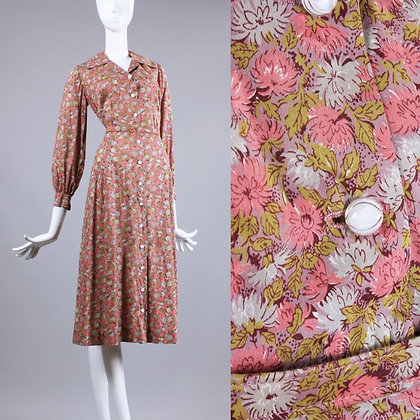 XL Vintage 1930s Pink Green Floral Shirtwaist Day Dress