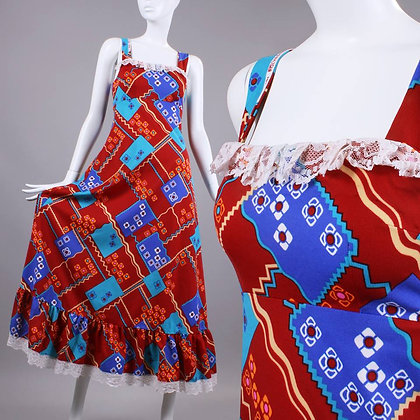 XS Vintage 1970s Geometric Shapes Maxi Dress