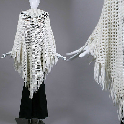 Vintage 1970s Sheer White Crochet Shawl